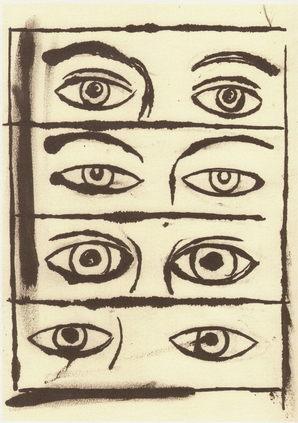4 pairs of eyes drawn by Andy Wharhol