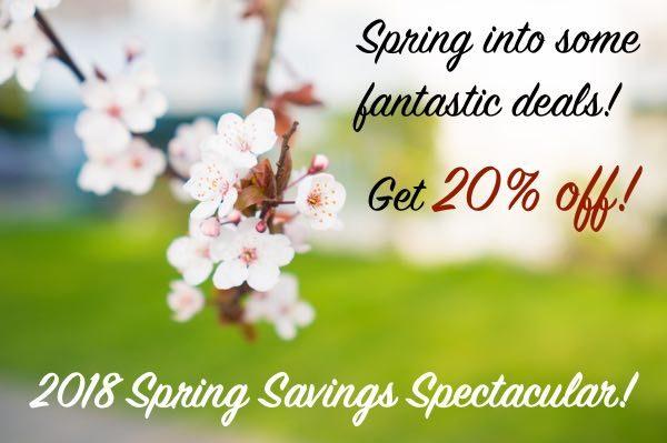 Spring Special 2018 - get 20% off