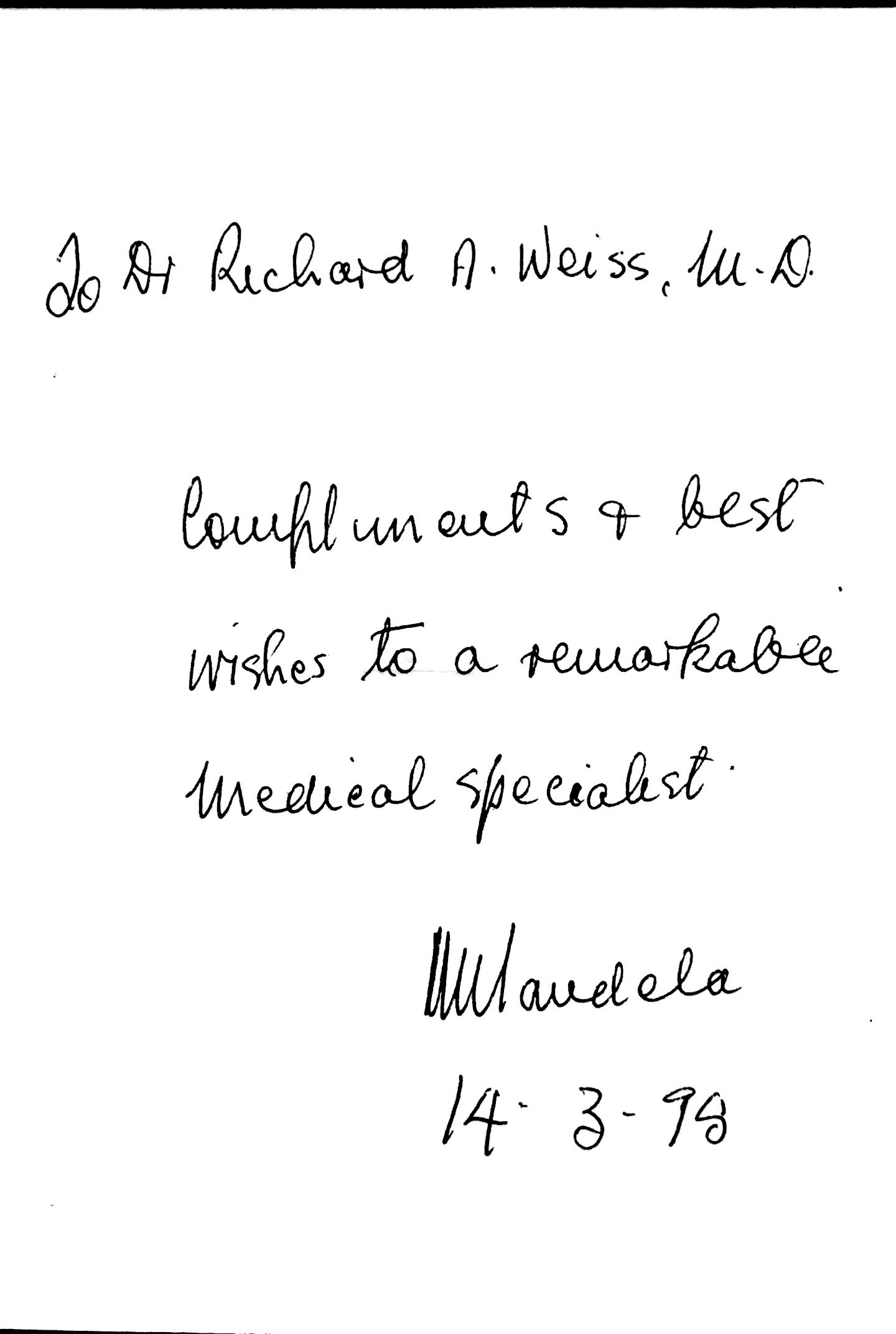 A written thank you letter from Nelson Mandela to Dr. Weiss