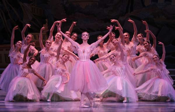 "Adult ballerinas in pink performing ""Waltz of the Flowers"""
