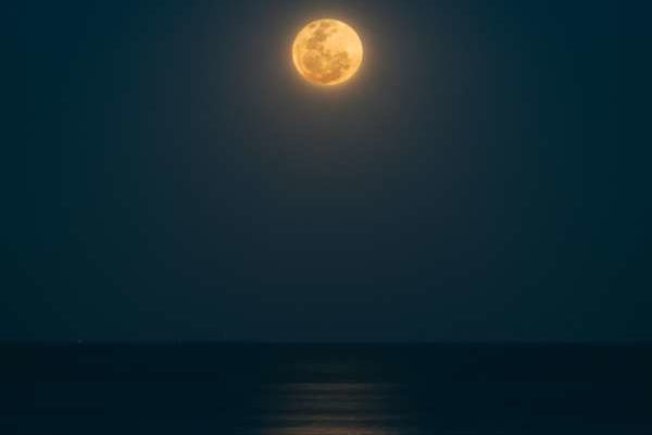A yellowish moon hangs over a dark ocean
