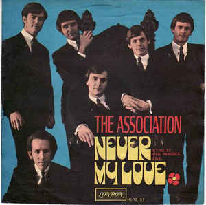 Music group The Association posing for an album cover for Never My Love