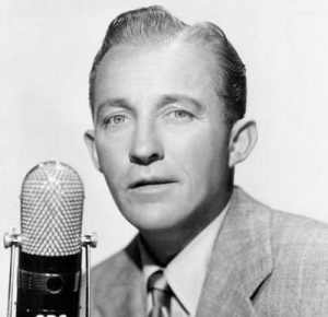 Bing Crosby in front of a CBS microphone
