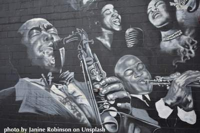 Famous jazz musicians painted on a mural